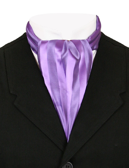 Victorian Old West Mens Ties Purple Satin Synthetic Stripe Ascots |Antique Vintage Fashioned Wedding Theatrical Reenacting Costume |