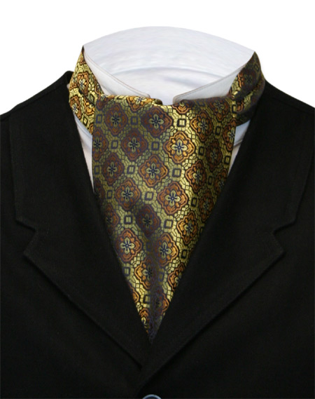 Victorian Old West Mens Ties Multicolor Gold Satin Synthetic Microfiber Geometric Ascots |Antique Vintage Fashioned Wedding Theatrical Reenacting Costume |