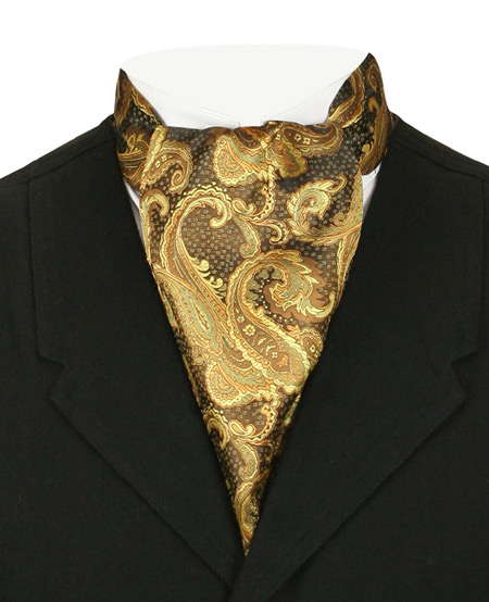 Victorian Old West Mens Ties Gold Satin Synthetic Microfiber Paisley Ascots |Antique Vintage Fashioned Wedding Theatrical Reenacting Costume | Gifts for Him