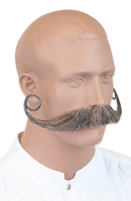 Victorian Old West Mens Mustaches Gray Natural |Antique Vintage Fashioned Wedding Theatrical Reenacting Costume |