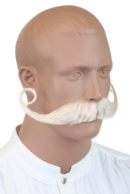 Victorian Old West Mens Mustaches White Natural |Antique Vintage Fashioned Wedding Theatrical Reenacting Costume |