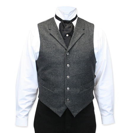 Victorian Old West Mens Vests Gray Wool Blend Tweed Herringbone Dress Work |Antique Vintage Fashioned Wedding Theatrical Reenacting Costume |