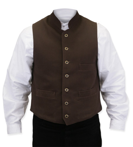 Victorian Old West Steampunk Mens Vests Brown Cotton Solid Work Clerical |Antique Vintage Fashioned Wedding Theatrical Reenacting Costume |