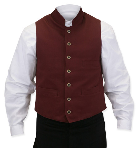 Victorian Old West Steampunk Mens Vests Red Cotton Solid Work Clerical |Antique Vintage Fashioned Wedding Theatrical Reenacting Costume |