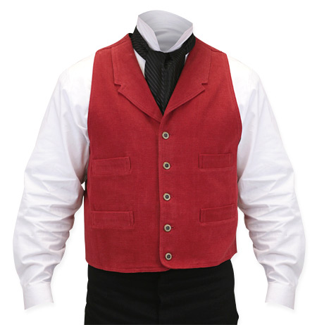 Victorian Old West Mens Vests Red Cotton Solid Dress Work |Antique Vintage Fashioned Wedding Theatrical Reenacting Costume |