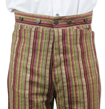 Victorian Old West Steampunk Mens Pants Red Cotton Stripe Work |Antique Vintage Fashioned Wedding Theatrical Reenacting Costume | Gifts Pirate