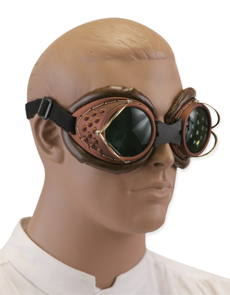 Victorian Steampunk Eyewear Brown Plastic Goggles |Antique Vintage Old Fashioned Wedding Theatrical Reenacting Costume |