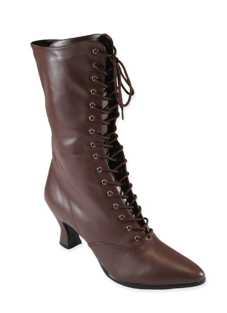 Victorian Steampunk Ladies Footwear Brown Faux Leather Calf Boots |Antique Vintage Old Fashioned Wedding Theatrical Reenacting Costume | Adventurer Dickens