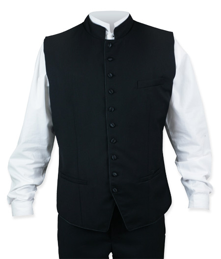 Victorian Mens Vests Black Synthetic Solid Dress Clerical |Antique Vintage Old Fashioned Wedding Theatrical Reenacting Costume |