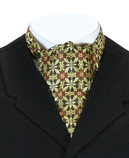 Victorian Old West Mens Ties Gold Silk Geometric Ascots |Antique Vintage Fashioned Wedding Theatrical Reenacting Costume |