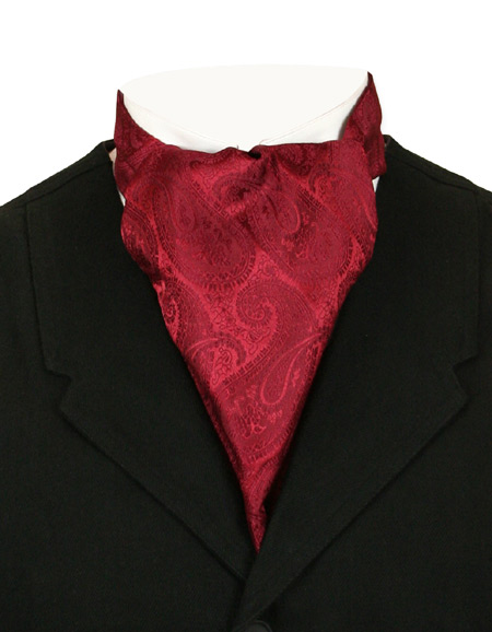 Victorian Old West Mens Ties Burgundy Satin Synthetic Microfiber Paisley Ascots |Antique Vintage Fashioned Wedding Theatrical Reenacting Costume |
