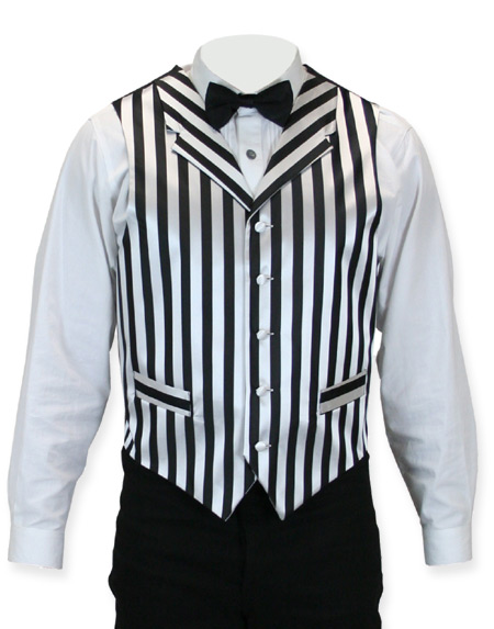 Victorian Old West Steampunk Mens Vests Black White Satin Synthetic Microfiber Stripe Dress |Antique Vintage Fashioned Wedding Theatrical Reenacting Costume |