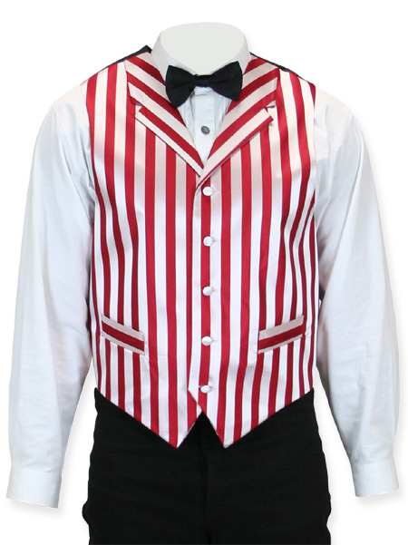 Victorian Old West Steampunk Mens Vests Red White Satin Synthetic Microfiber Stripe Dress |Antique Vintage Fashioned Wedding Theatrical Reenacting Costume |
