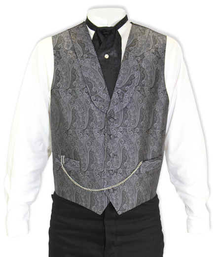 Victorian Old West Mens Vests Gray Silk Print Dress |Antique Vintage Fashioned Wedding Theatrical Reenacting Costume |