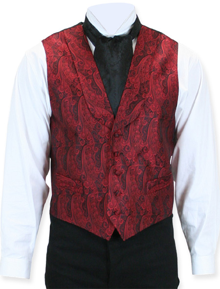 Victorian Old West Mens Vests Red Silk Print Dress |Antique Vintage Fashioned Wedding Theatrical Reenacting Costume | Holmes and Watson