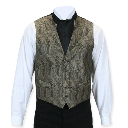 Victorian Old West Mens Vests Brown Silk Print Dress |Antique Vintage Fashioned Wedding Theatrical Reenacting Costume |