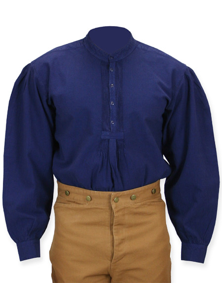 Victorian Old West Mens Shirts Blue Cotton Solid Work |Antique Vintage Fashioned Wedding Theatrical Reenacting Costume |