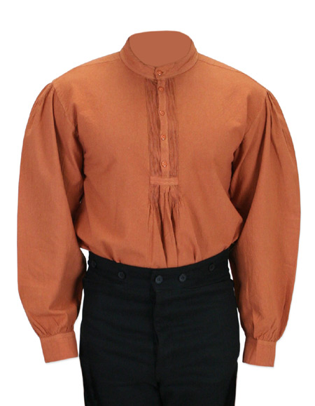 Victorian Old West Mens Shirts Brown Cotton Solid Work Pioneer |Antique Vintage Fashioned Wedding Theatrical Reenacting Costume |