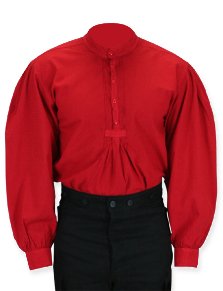 Victorian Old West Mens Shirts Red Cotton Solid Work Pioneer |Antique Vintage Fashioned Wedding Theatrical Reenacting Costume |