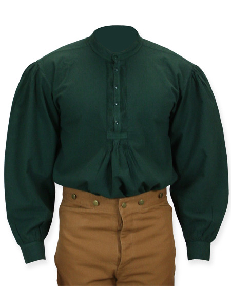 Victorian Old West Mens Shirts Green Cotton Solid Work |Antique Vintage Fashioned Wedding Theatrical Reenacting Costume |