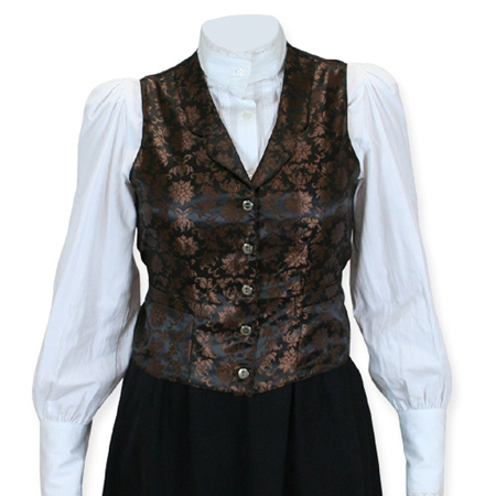 Victorian Old West Ladies Vests Brown Synthetic Floral Dress |Antique Vintage Fashioned Wedding Theatrical Reenacting Costume |