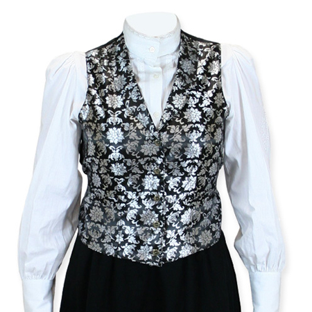 Victorian Old West Ladies Vests Silver Synthetic Floral Dress |Antique Vintage Fashioned Wedding Theatrical Reenacting Costume |