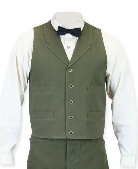 Victorian Old West Mens Vests Green Cotton Solid Work |Antique Vintage Fashioned Wedding Theatrical Reenacting Costume |