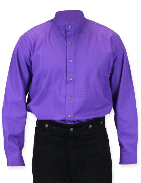 Victorian Old West Mens Shirts Purple Cotton Solid Dress |Antique Vintage Fashioned Wedding Theatrical Reenacting Costume |