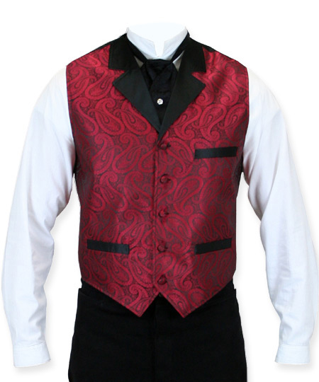 Victorian Old West Mens Vests Red Synthetic Paisley Dress |Antique Vintage Fashioned Wedding Theatrical Reenacting Costume |