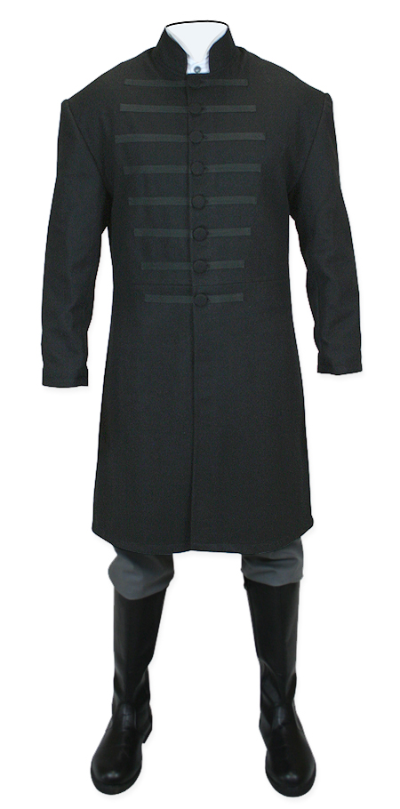Victorian Steampunk Mens Coats Black Wool Solid Frock |Antique Vintage Old Fashioned Wedding Theatrical Reenacting Costume |