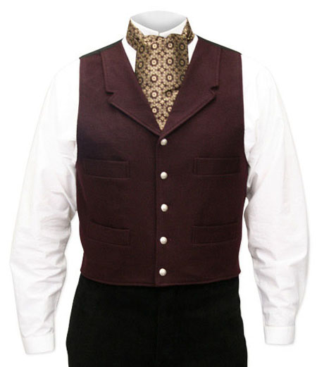 Victorian Old West Mens Vests Burgundy Wool Blend Solid Dress |Antique Vintage Fashioned Wedding Theatrical Reenacting Costume |