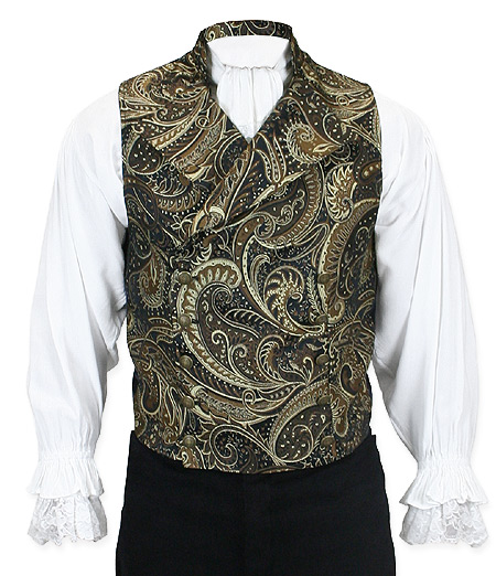 Victorian Steampunk Mens Vests Gold Synthetic Floral Tapestry Dress |Antique Vintage Old Fashioned Wedding Theatrical Reenacting Costume | Pirate
