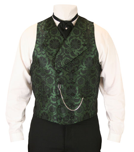 Victorian Mens Vests Green Satin Synthetic Microfiber Floral Dress |Antique Vintage Old Fashioned Wedding Theatrical Reenacting Costume | Gifts for Him