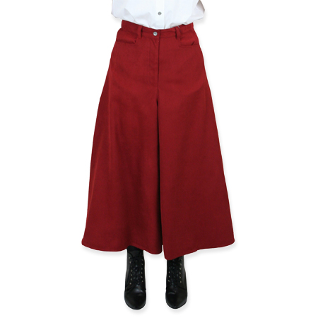 Victorian Old West Ladies Skirts Red Synthetic Solid Work Pants Riding |Antique Vintage Fashioned Wedding Theatrical Reenacting Costume |