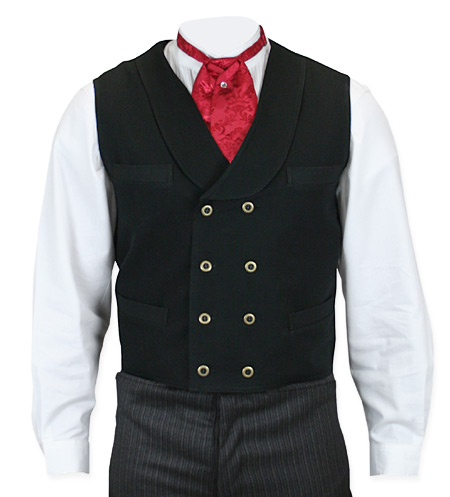 Victorian Old West Mens Vests Black Cotton Solid Work |Antique Vintage Fashioned Wedding Theatrical Reenacting Costume |