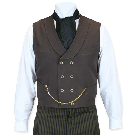 Victorian Old West Mens Vests Brown Cotton Solid Work |Antique Vintage Fashioned Wedding Theatrical Reenacting Costume |