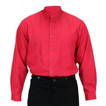 Victorian Old West Mens Shirts Red Cotton Solid Work |Antique Vintage Fashioned Wedding Theatrical Reenacting Costume |