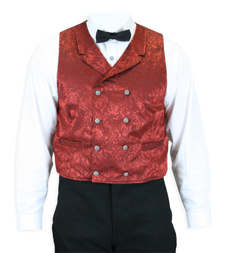 Victorian Old West Mens Vests Red Silk Floral Dress |Antique Vintage Fashioned Wedding Theatrical Reenacting Costume |