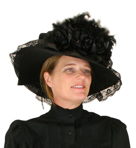 Victorian Old West Ladies Hats Black Straw Satin Touring |Antique Vintage Fashioned Wedding Theatrical Reenacting Costume | Gifts for Her