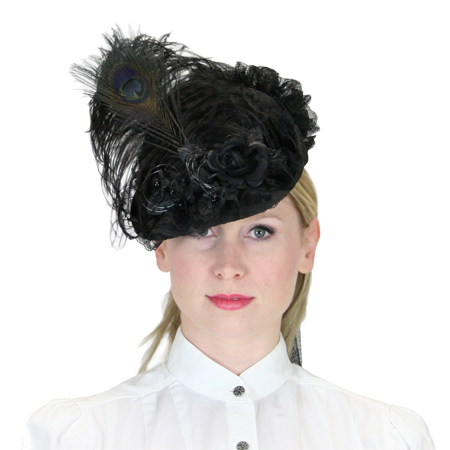 Victorian Old West Ladies Hats Black Straw Lace Small French |Antique Vintage Fashioned Wedding Theatrical Reenacting Costume |