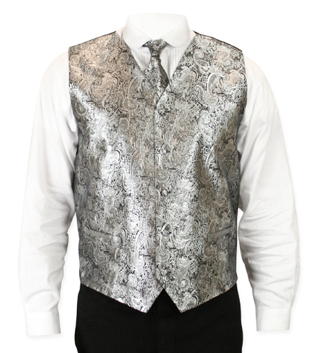 Victorian Old West Mens Vests Silver Satin Synthetic Microfiber Paisley Dress Tie Included |Antique Vintage Fashioned Wedding Theatrical Reenacting Costume | NYE