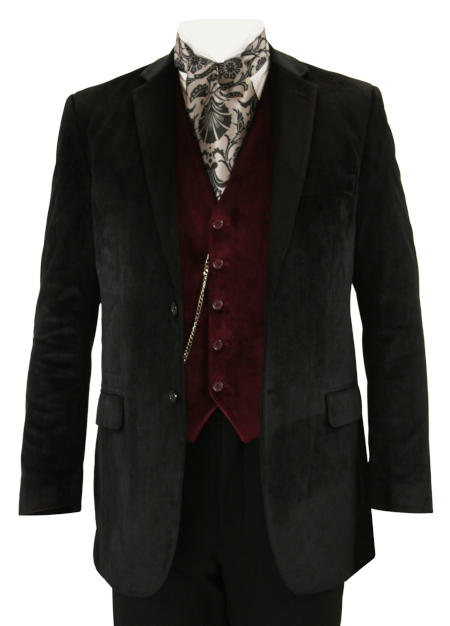 Victorian Mens Coats Black Velvet Solid Smoking Jackets |Antique Vintage Old Fashioned Wedding Theatrical Reenacting Costume |