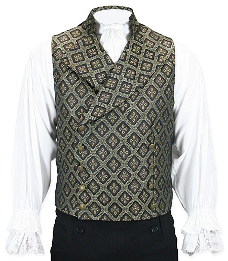 Victorian Steampunk Mens Vests Brown Synthetic Geometric Tapestry Dress |Antique Vintage Old Fashioned Wedding Theatrical Reenacting Costume | Luxury Gifts for Him