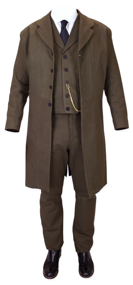 Victorian Old West Steampunk Mens Coats Brown Cotton Solid Frock Matched Separates |Antique Vintage Fashioned Wedding Theatrical Reenacting Costume |