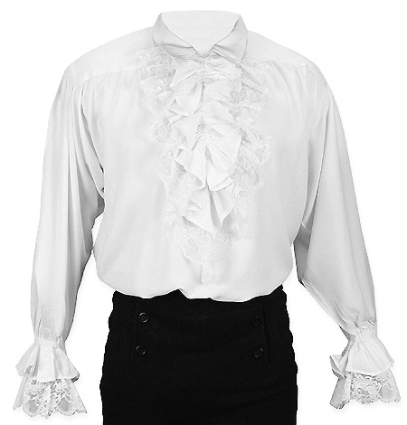 Victorian Steampunk Regency Mens Shirts White Synthetic Solid Dress |Antique Vintage Old Fashioned Wedding Theatrical Reenacting Costume | Pirate