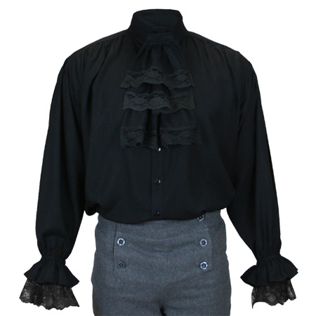 Victorian Steampunk Regency Mens Shirts Black Synthetic Solid Dress |Antique Vintage Old Fashioned Wedding Theatrical Reenacting Costume |