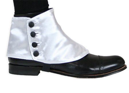 Victorian Steampunk Mens Footwear White Satin Synthetic Solid Spats and Gaiters |Antique Vintage Old Fashioned Wedding Theatrical Reenacting Costume |