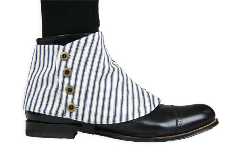 Victorian Steampunk Mens Footwear Ivory Blue Cotton Striped Spats and Gaiters Matched Separates |Antique Vintage Old Fashioned Wedding Theatrical Reenacting Costume |
