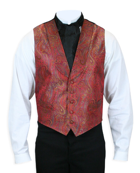 Victorian Old West Mens Vests Red Silk Paisley Dress |Antique Vintage Fashioned Wedding Theatrical Reenacting Costume |