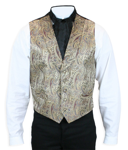Victorian Old West Mens Vests Brown Tan Silk Paisley Dress |Antique Vintage Fashioned Wedding Theatrical Reenacting Costume |